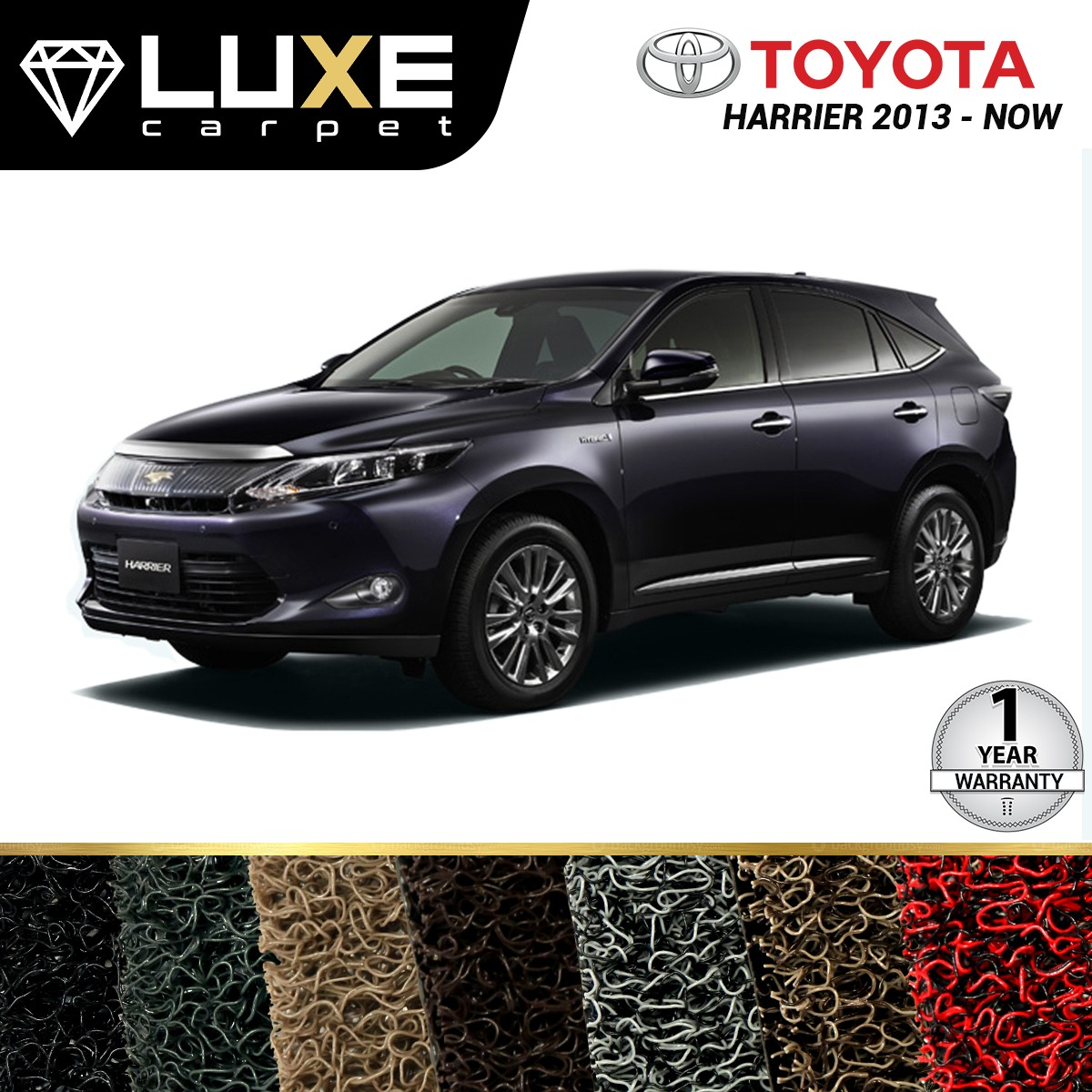 KARPET LUXE + BAGASI TOYOTA HARRIER 2013-NOW  - GOLD SERIES