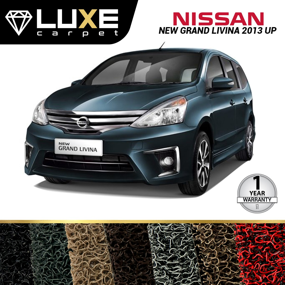 KARPET LUXE NISSAN GRAND LIVINA 2013 UP - GOLD SERIES - NON BAGASI