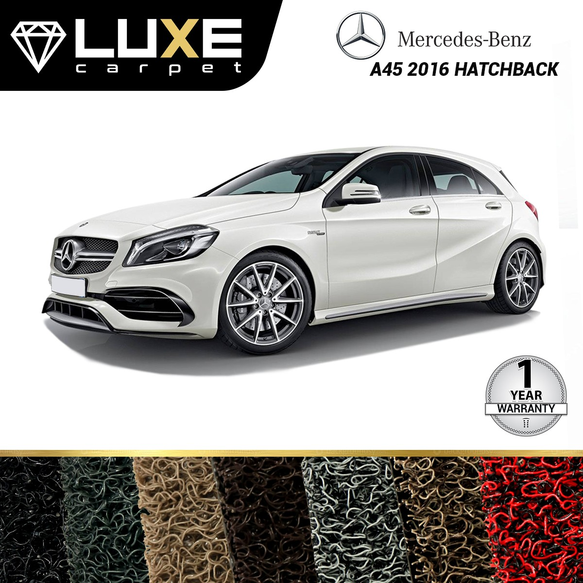 KARPET LUXE + BAGASI MERCEDES BENZ A45 HATCHBACK TAHUN 2016 - GOLD SERIES