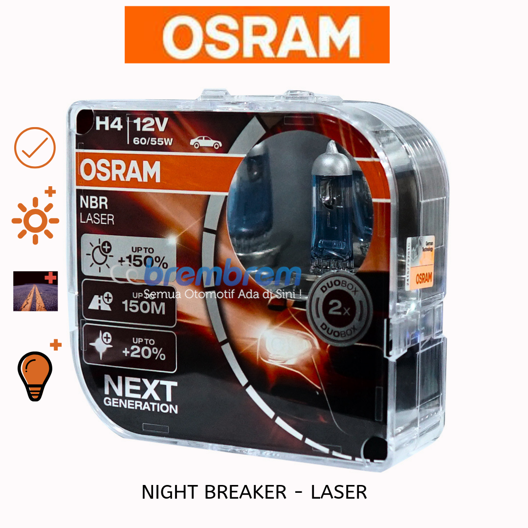 OSRAM NIGHT BREAKER LASER H4 - LAMPU HALOGEN