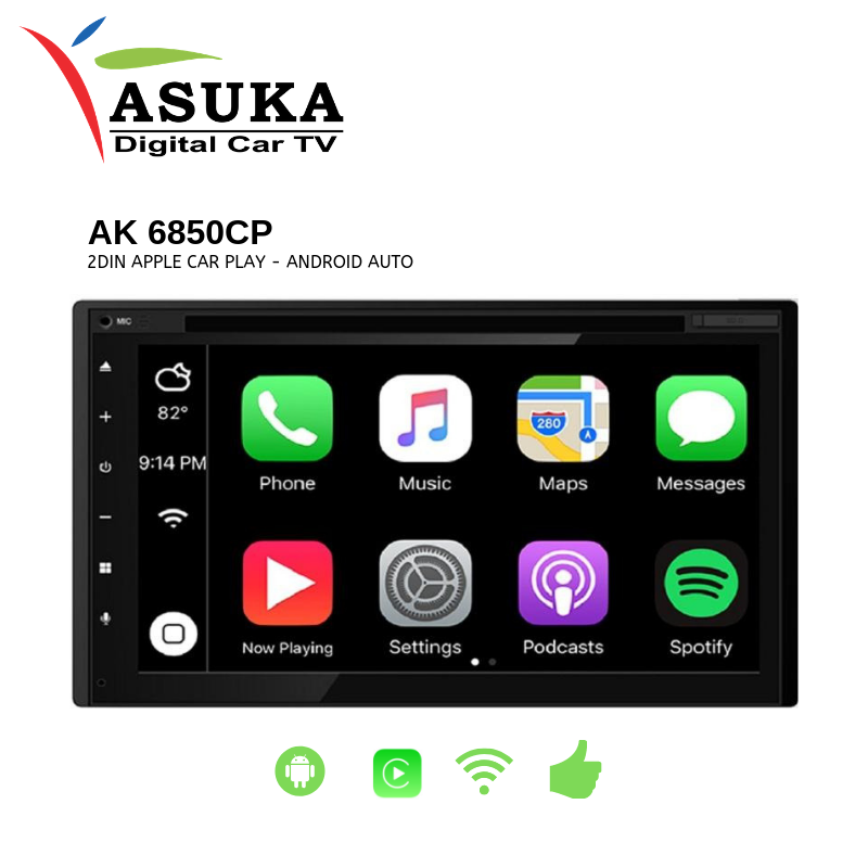 ASUKA AK 6850CP - HEAD UNIT 2DIN APPLE CAR PLAY - ANDROID AUTO