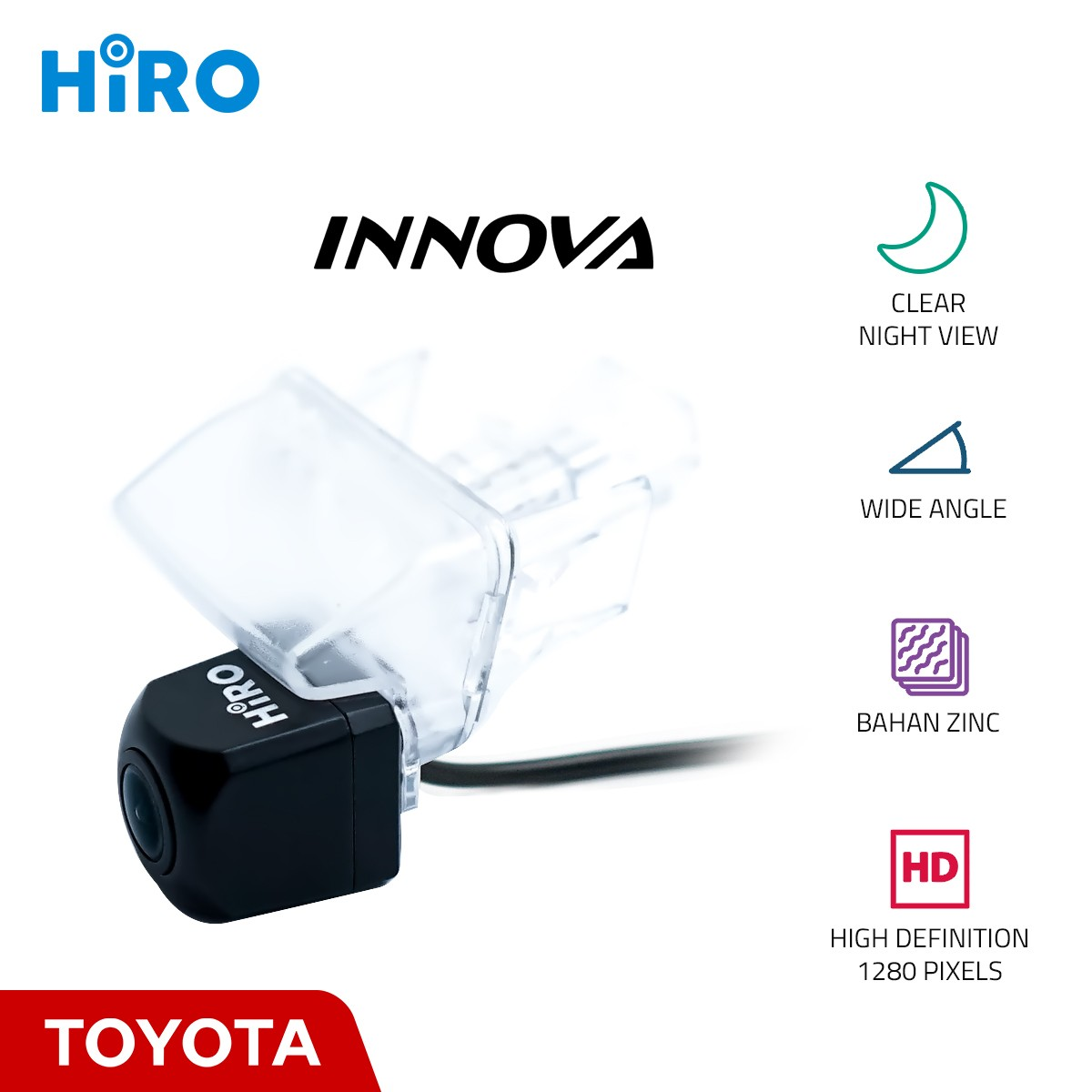 HIRO CHIP HD 1280p - KAMERA MUNDUR OEM TOYOTA INNOVA