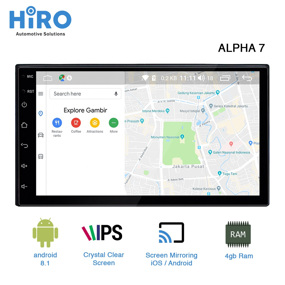 HIRO ALPHA 7 INCH - ANDROID MIRRORING iOS ANDROID - HIGH QUALITY PRODUCT