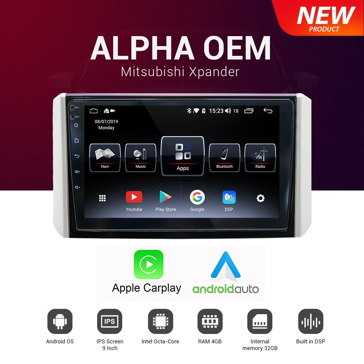 HIRO-ALPHA-EOM XPANDER-HEAD UNIT 2 DIN