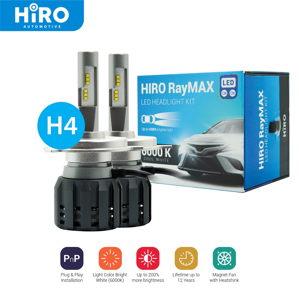 HIRO LED RAYMAX - LAMPU LED H4 6000K