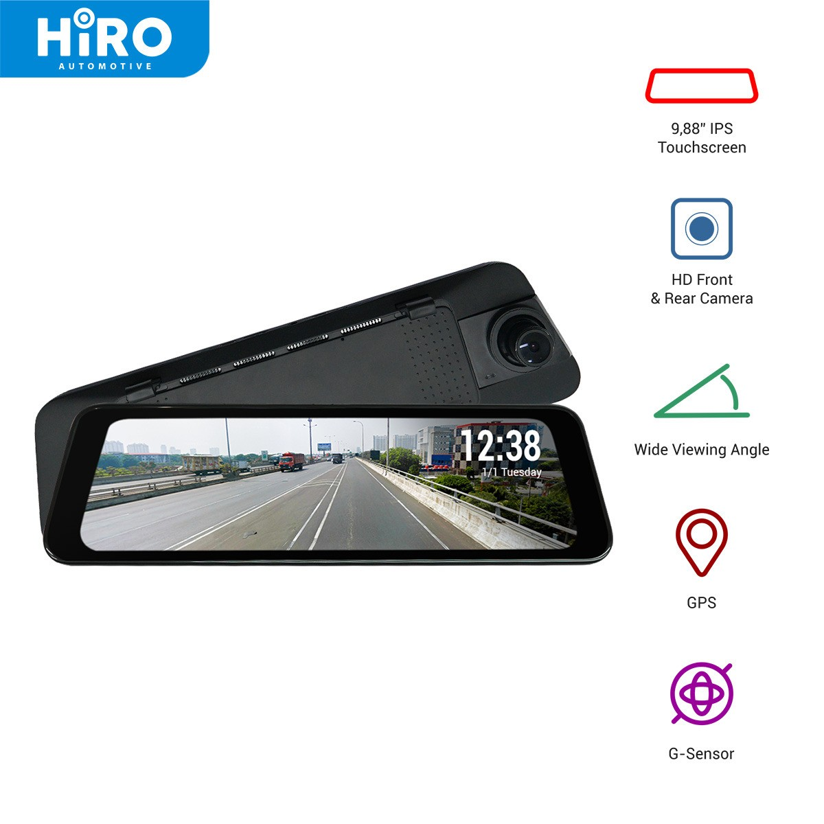 HIRO VISION STREAMING VIEW MIRROR - DVR SPION MOBIL - HD QUALITY [REKOMENDASI]