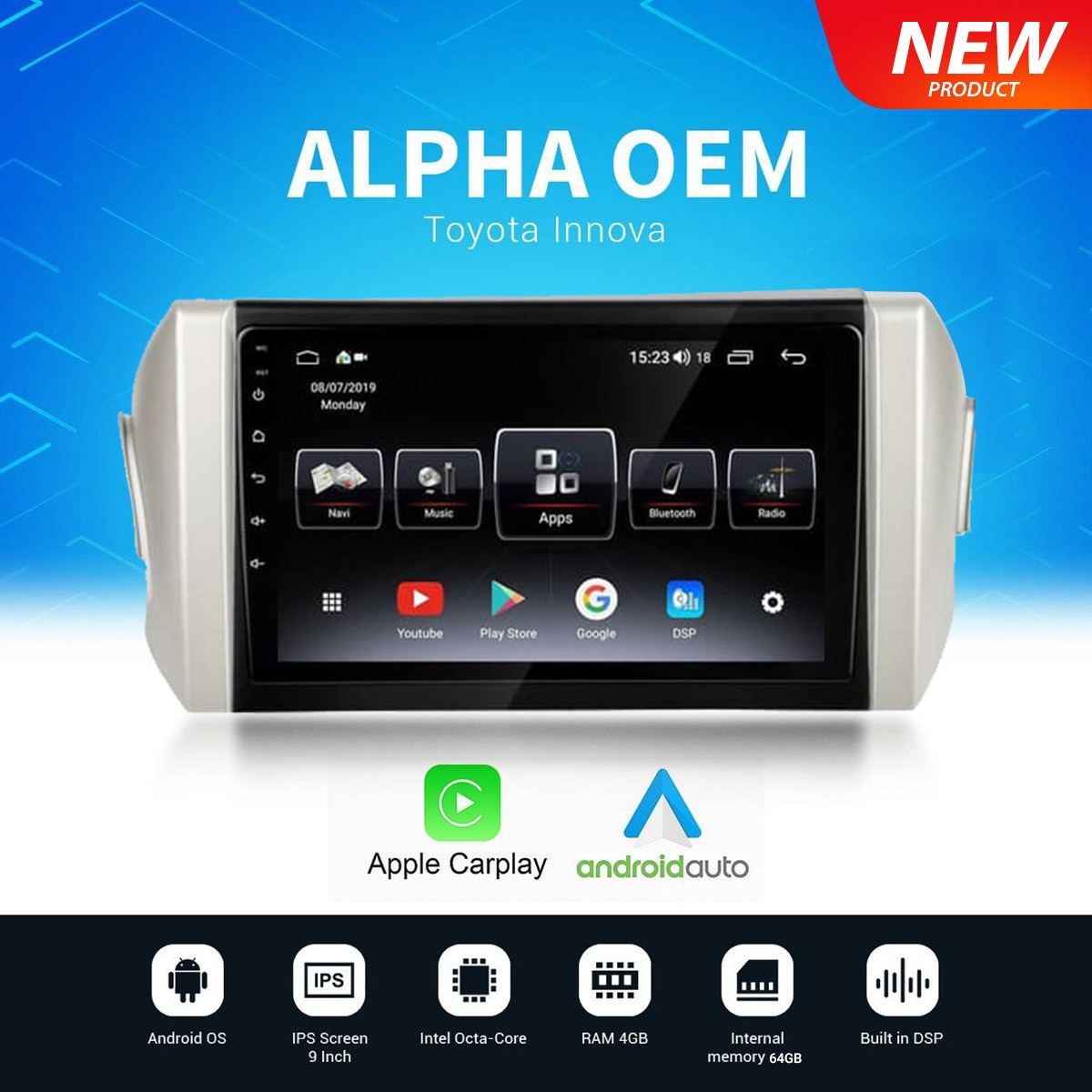 HIRO ALPHA OEM INNOVA REBORN - HEAD UNIT ANDROID 9INCH HD SCREEN