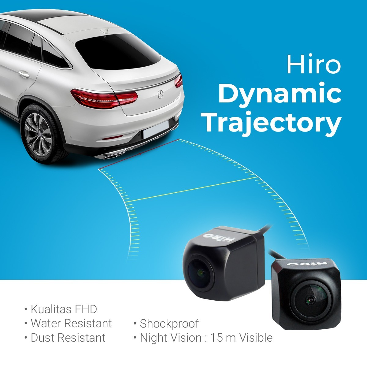 KAMERA MUNDUR HIRO DYNAMIC TRAJECTORY PARKING LINE