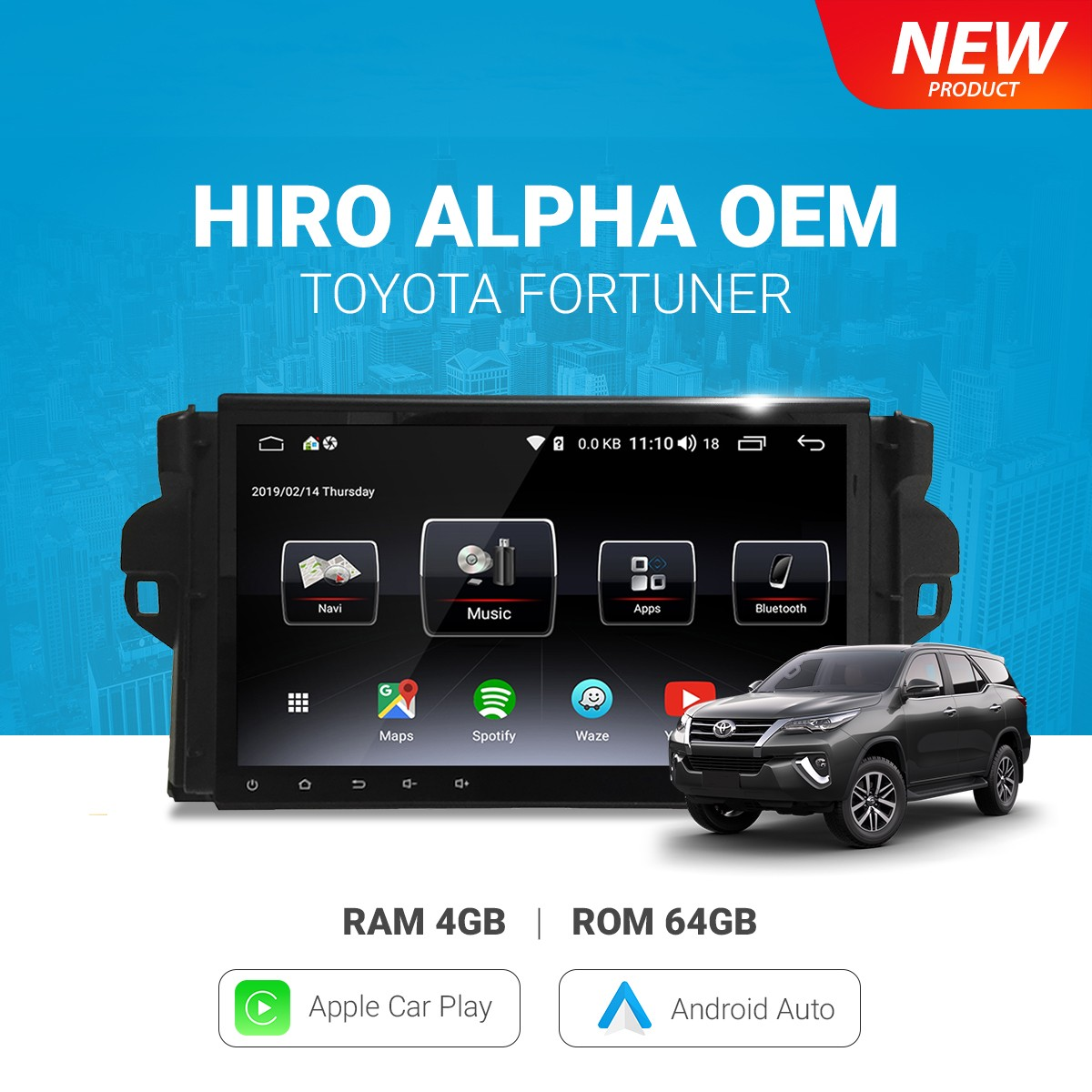 HIRO ALPHA OEM TOYOTA FORTUNER - HEAD UNIT ANDROID 2 DIN