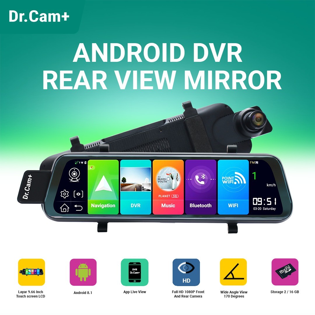 """DR.CAM+ F9+ ALPHA - SPION DVR MOBIL 9.66"""" - ANDROID SERIES FULL SCREEN"""